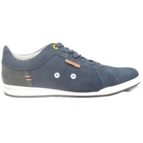 Anton Navy Blue Canvas Lace-Up Casual Shoe