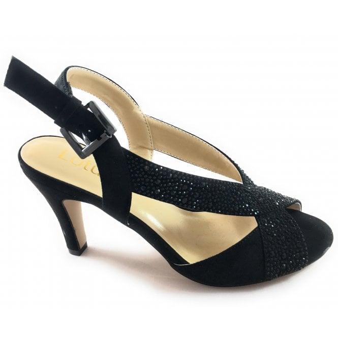 Lotus Anya Black Diamante Sandal
