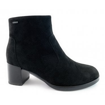 12-16911 Florenz Black Suede Gore-Tex Heeled Ankle Boot