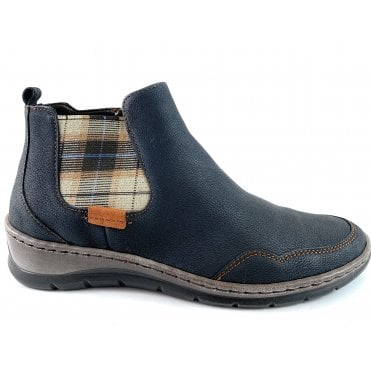 12-32605 Gil Navy Leather Casual Ankle Boot