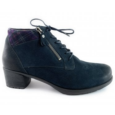 12-45429 Avignon High Soft Navy Leather Lace-Up Boot
