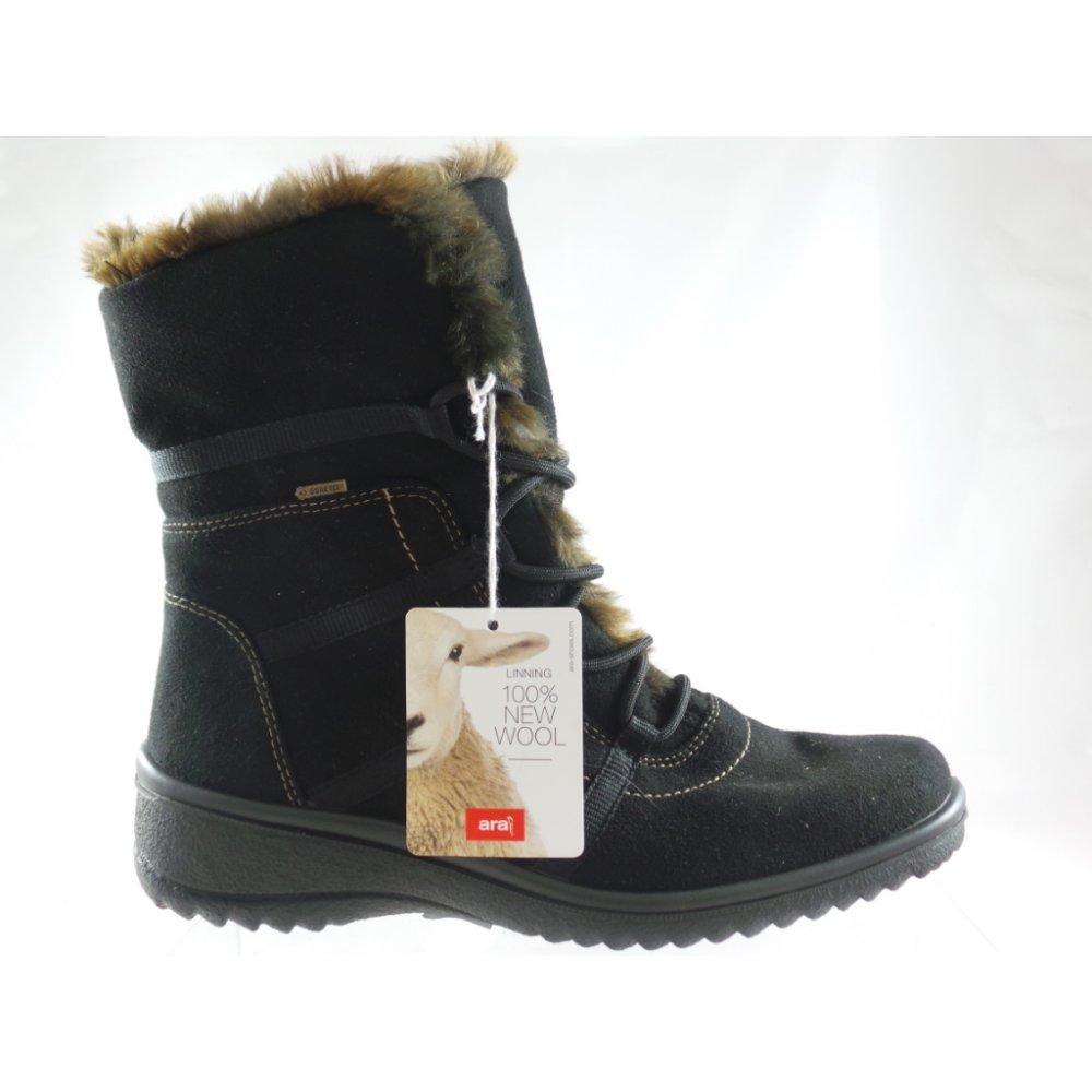 e6b3e1e5a00 Ara Munchen 12-48523 Black Suede Gore-Tex Lace-Up Ankle Boot - Ara ...