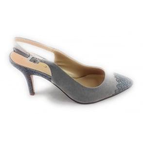 Arlind Grey and Pewter Glitz Sling-Back Court Shoe