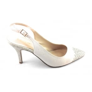 Arlind Natural and Gold Glitz Sling-Back Court Shoe
