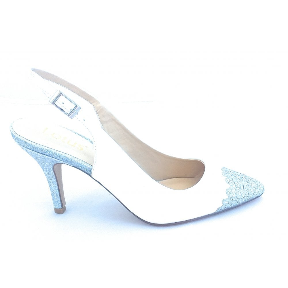 899278a43e Lotus Arlind White and Silver Glitz Sling-Back Court Shoe - Lotus ...