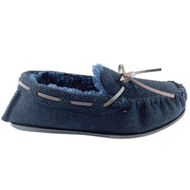 Ella Shoes Arthur Tweed Look Faux fur Mens Moccasin Slipper