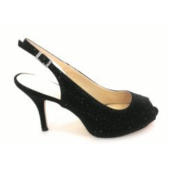 Astro Black Diamanté Sling-Back Shoe