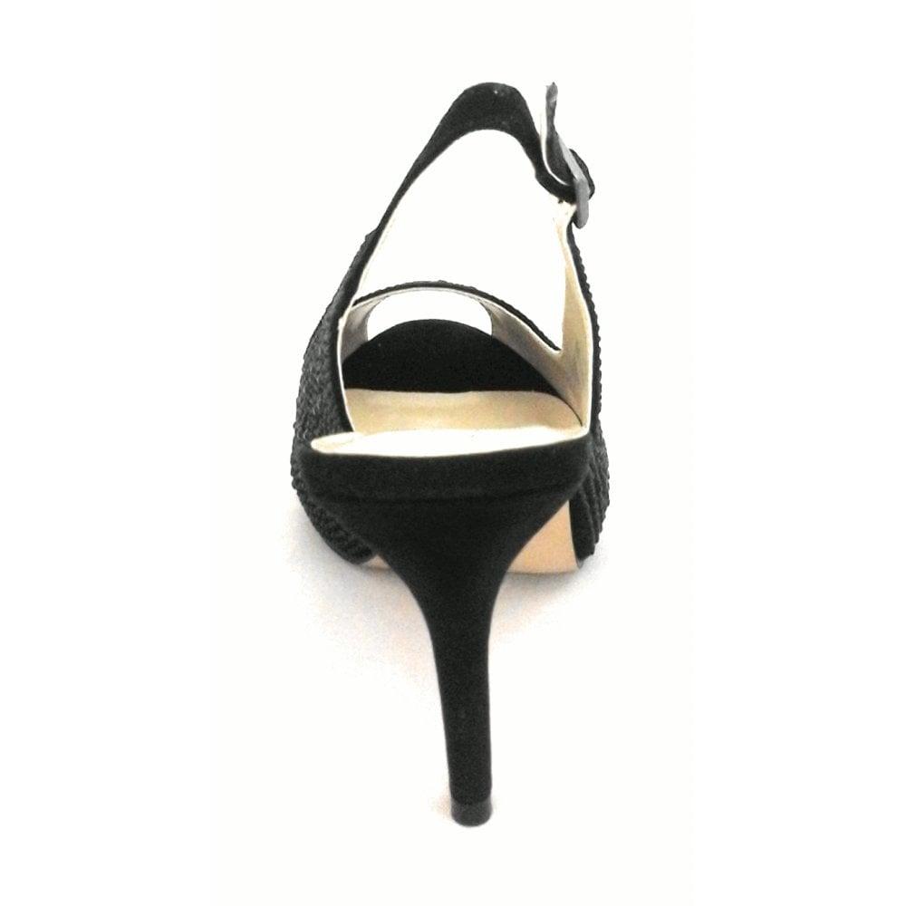7a3de0e5597 Lotus Astro Black Diamanté Sling-Back Shoe