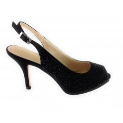 Astro Black Diamante Peep-Toe Sling-Back Shoe