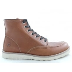 Aubrey Tan Leather Lace-Up Mens Boot