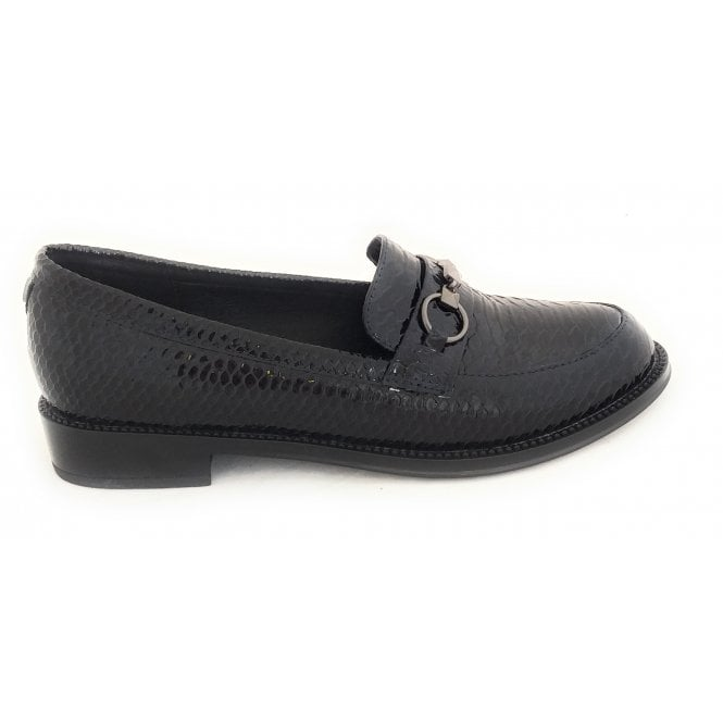 Lotus Ava Navy Patent Reptile Print Loafers