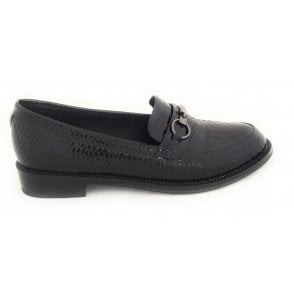Ava Navy Patent Reptile Print Loafers