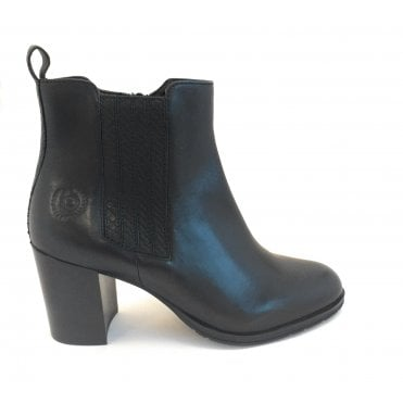 Ayumi Black Leather Heeled Ankle Boot