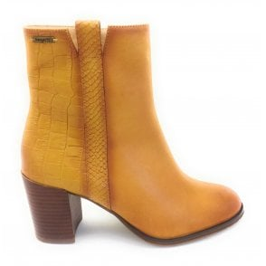 Ayumi Mustard Leather Heeled Ankle Boot