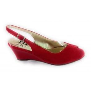 B149 Red Suede and Patent Peep-Toe Wedge