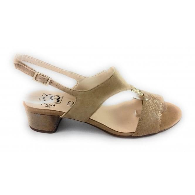HB B681 Beige Suede and Reptile Print Open-Toe Sandal