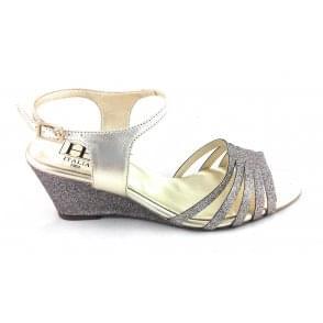 B842 Gold Glitter Wedge Sandal