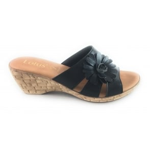 Baili Black Open-Toe Wedge Mule Sandal