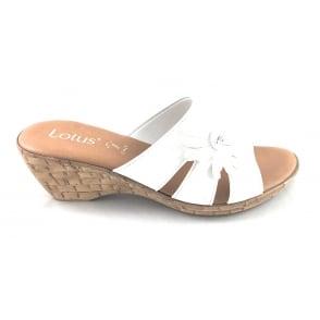 Baili White Open-Toe Wedge Mule Sandal