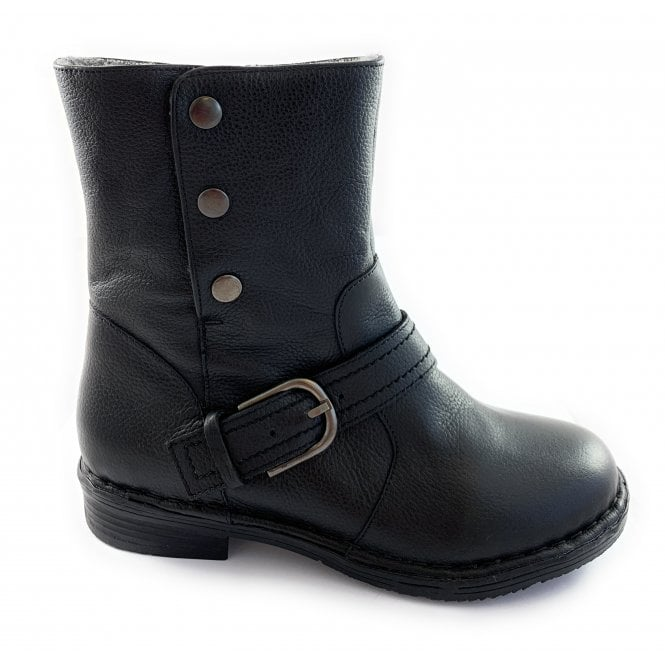 Lotus Banan Black Leather Ankle Boot