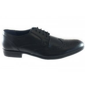 Bannerman Black Leather Lace-Up Brogue
