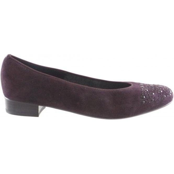 Ara Bari 12-43711 Wine Suede Ballerina Shoe