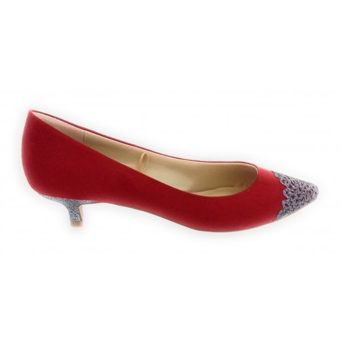 Lotus Barnaby Red and Pewter Glitz Court Shoe