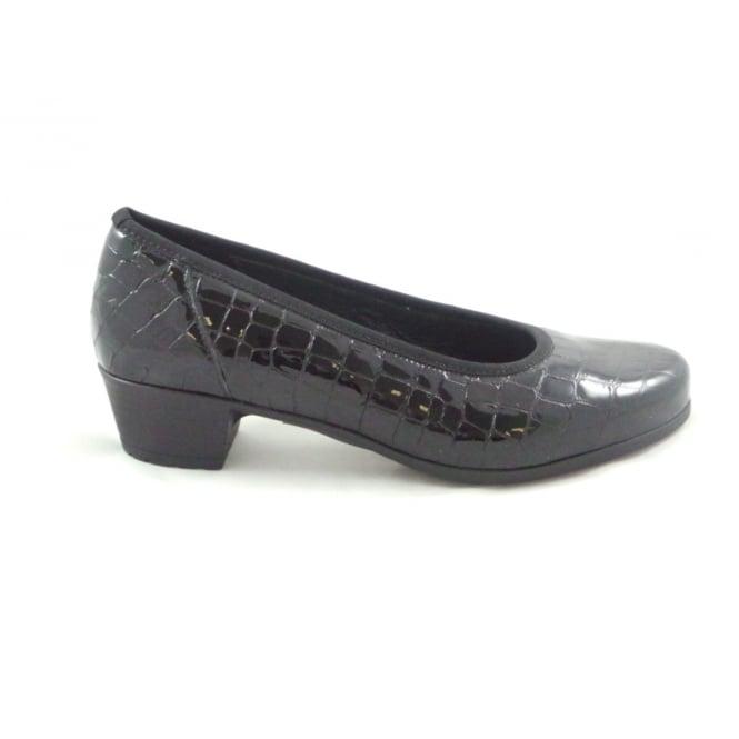 Ara Basel 12-46136 Black Patent Croc Print Court Shoe