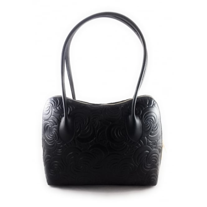 Lotus Beacon Leather Floral Print Handbag
