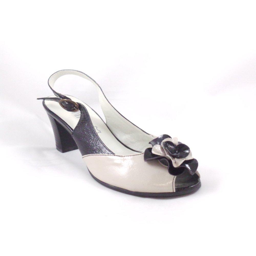alpina beige and black patent leather peep toe sling back