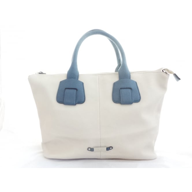 Lotus Beige and Blue Tote Bag