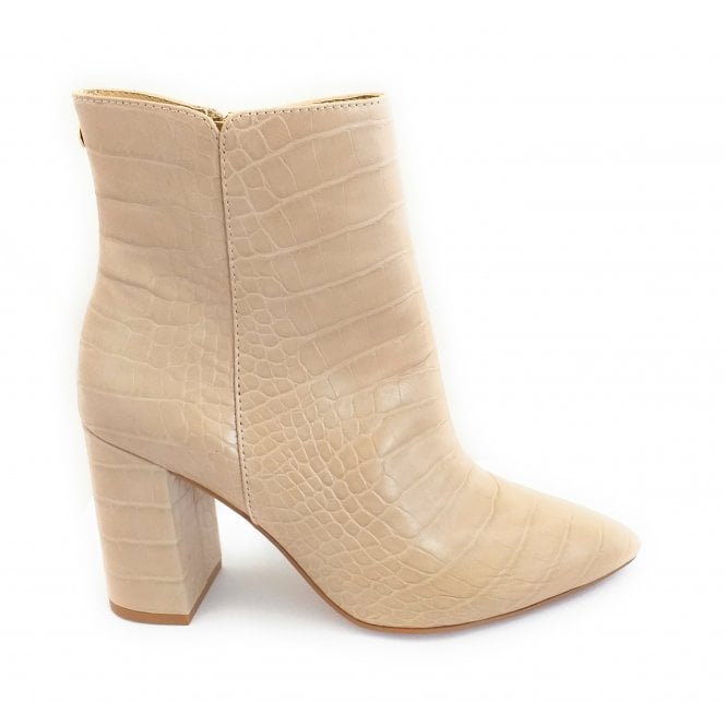 Ravel Beige Croc-Print Soriano Ankle Boots