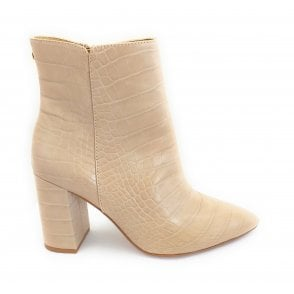 Beige Croc-Print Soriano Ankle Boots