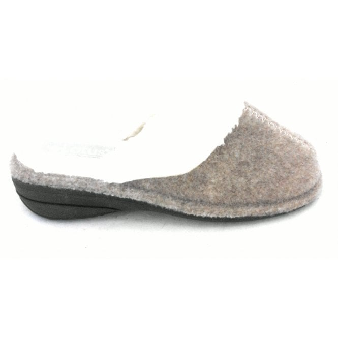 Lotus Beige Felt Mule Slipper