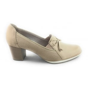 Beige Leather Loafer Court Shoe