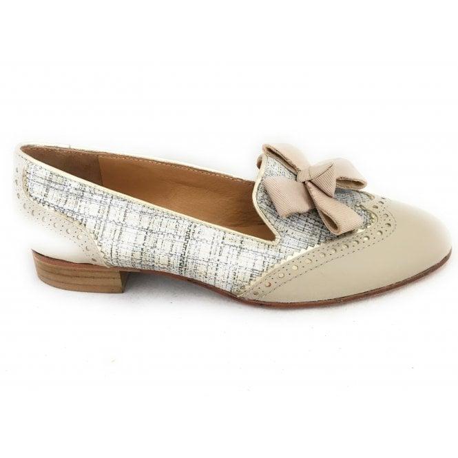 HB Beige Leather Print Loafer