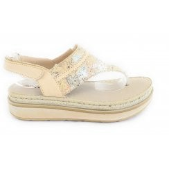 Beige Leather Toe Post Sandal