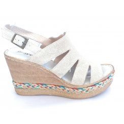 Beige Leather Wedge Sandal