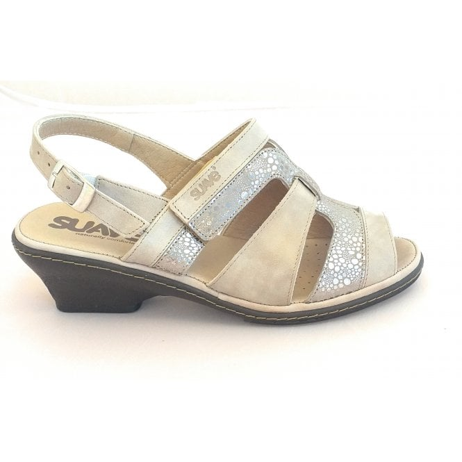 Suave Beige Leather Wide Fit Sandal