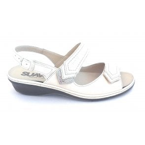 Beige Leather Wide Fit Sandal