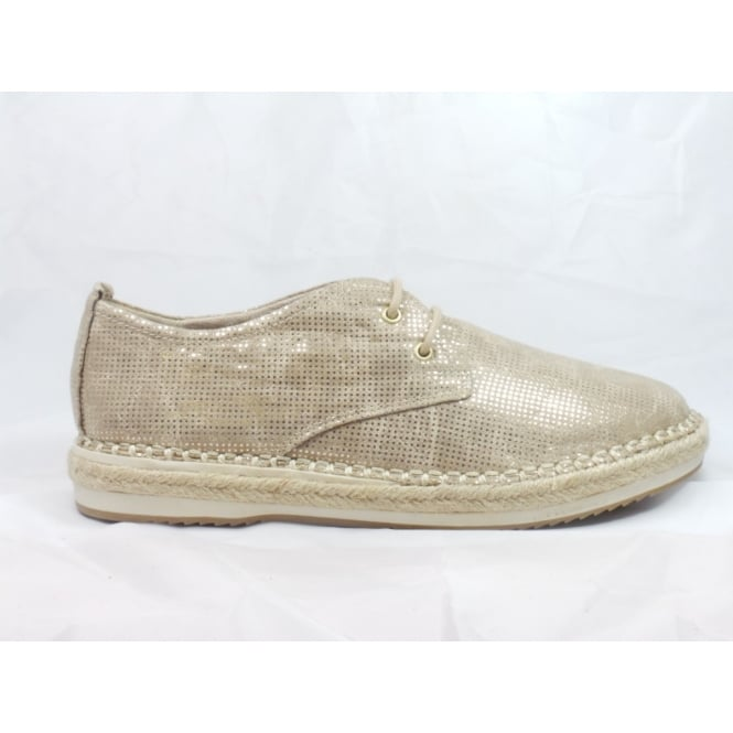 Marco Tozzi Beige Metallic Lace-Up Espadrille