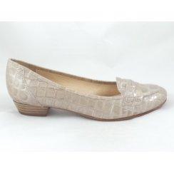 Beige Patent Croc Print Loafer Shoe