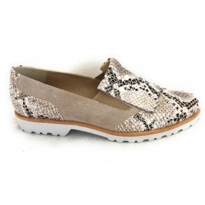 Beige Suede and Reptile Print Slip on Shoe
