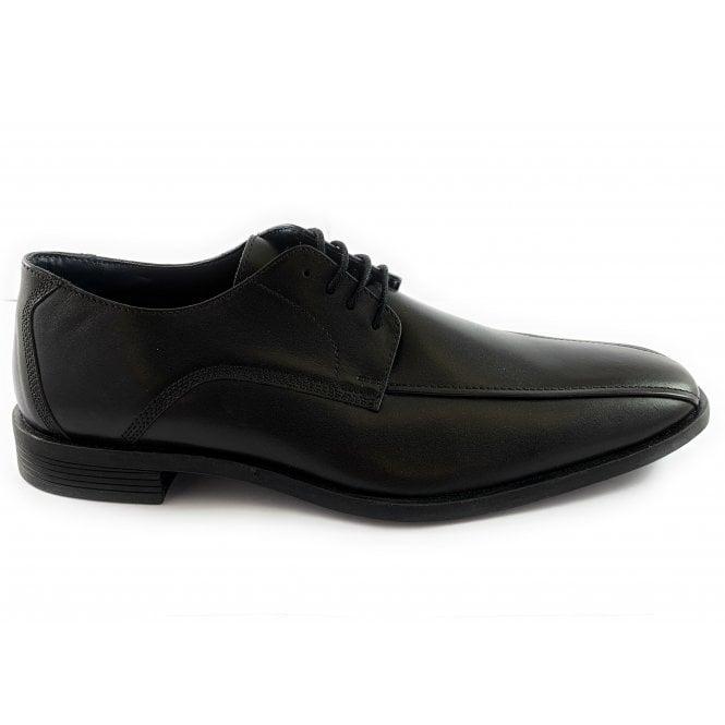Lotus Benjamin Black Leather Lace-Up Shoe