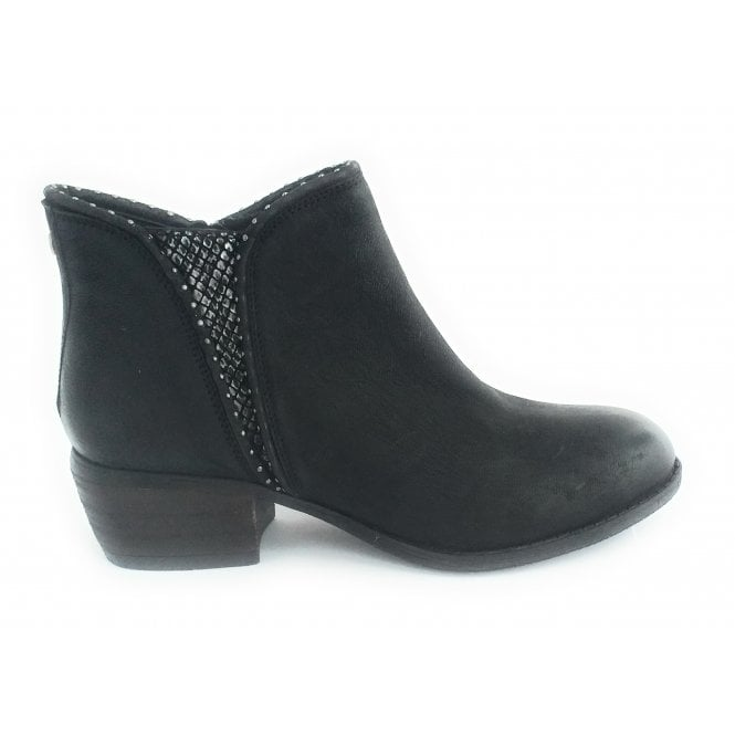 Lotus Benny Black Leather Ankle Boot
