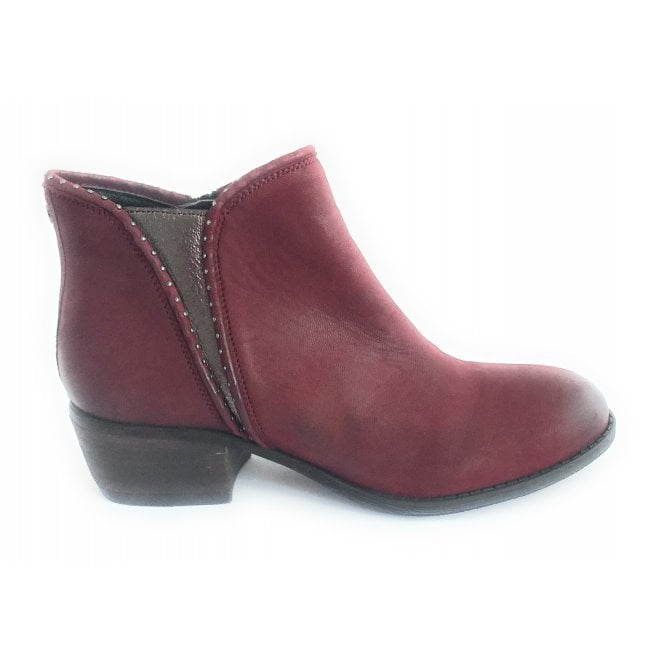 Lotus Benny Red Leather Ankle Boot