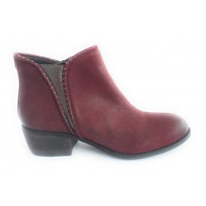 Benny Red Leather Ankle Boot