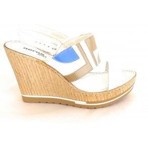 Berna F133 White Leather Wedge Sandal