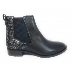 Berty Black Leather Ankle Boots