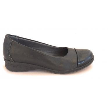 Beth Black Leather Slip On Casual Shoes